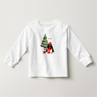 Sweet Penguin Custom Name Christmas Kids T-Shirts