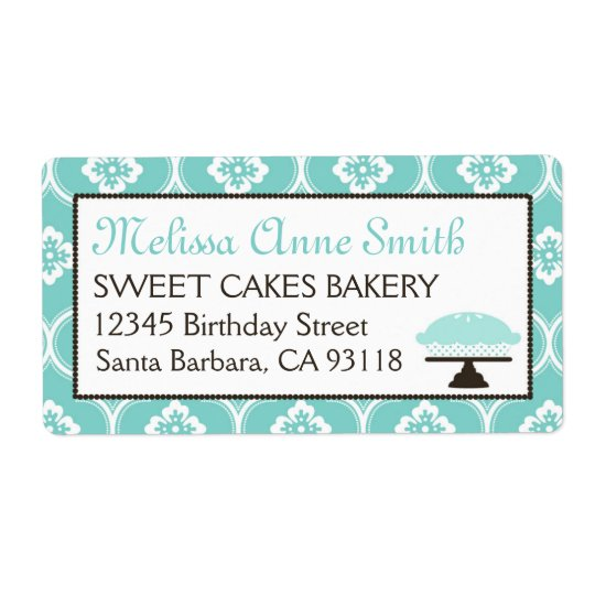 Sweet Pie Business Shipping Label Turquoise