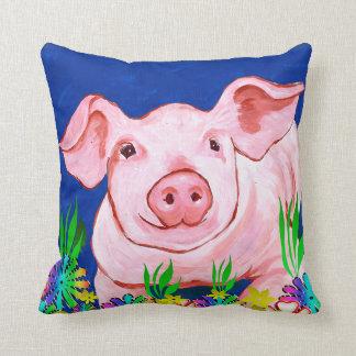 Sweet Pig Flowers Throw Pillow