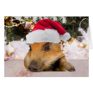 Sweet Pig In Santa Hat Christmas Tree Greeting Card