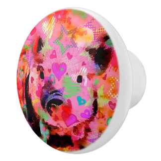 sweet Piglet graffiti Ceramic Knob