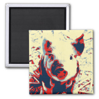sweet piglet toony red 2 inch square magnet