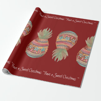 Sweet Pineapple Christmas Wrapping Red Wrapping Paper