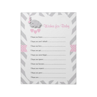 Sweet Pink and Gray Elephant Baby Shower - Wishes Notepad