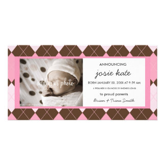 Sweet Pink Argyle Baby Girl Birth Announcement Customised Photo Card