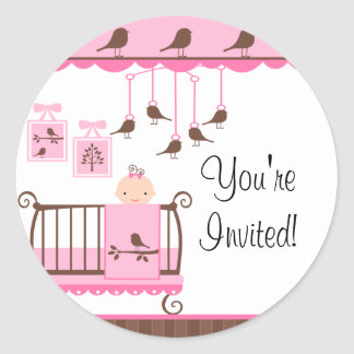 Sweet Pink Baby Room You re Invited Sticker