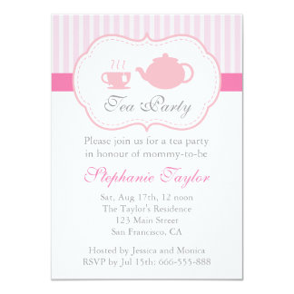 "Sweet Pink Baby Shower, Tea Party for Mom to Be 4.5"" X 6.25"" Invitation Card"