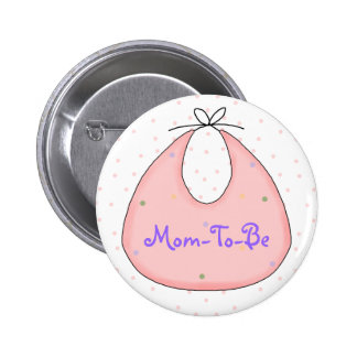 Sweet Pink Bib Baby Shower Mommy Pin Button