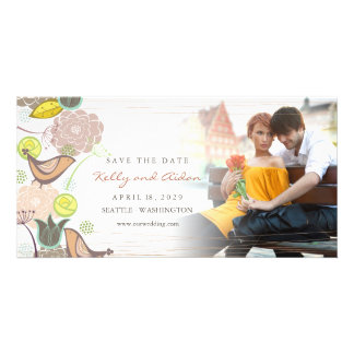 Sweet Pink Birds Floral Garden Photo Save The Date Picture Card