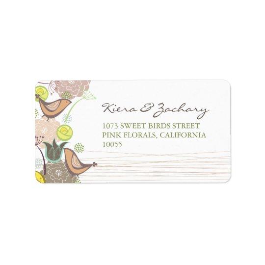 Sweet Pink Birds Floral Garden Spring Wedding Label