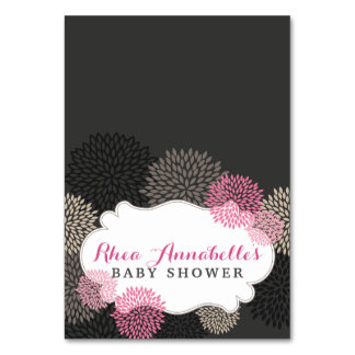 Sweet Pink Blooms - Pink Grey Black Tent Card Table Cards