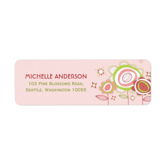 Sweet Pink Blossoms Flowers Return Address Labels