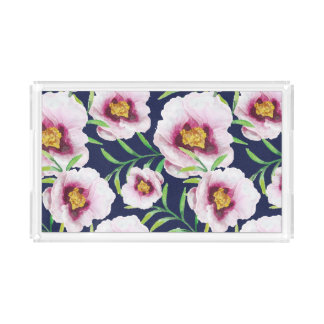 Sweet pink blue poppy vintage floral pattern acrylic tray