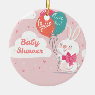 Sweet pink bunny balloons baby shower invitation round ceramic decoration