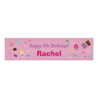 Sweet Pink Candy Birthday Party Posters