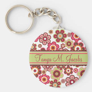 Sweet Pink Candy Daisies Flowers Girly Pattern Fun Basic Round Button Key Ring
