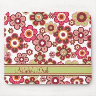 Sweet Pink Candy Daisies Flowers Girly Pattern Fun Mouse Mat