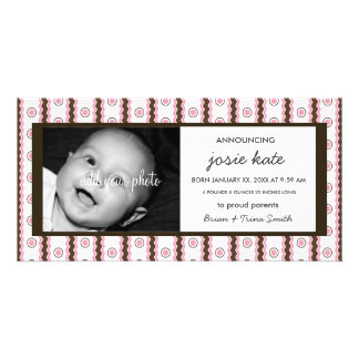 Sweet Pink & Chocolate Stripes Birth Announcement Personalized Photo Card