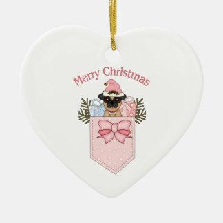 Sweet Pink Christmas Pug Pockets Ceramic Heart Decoration
