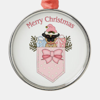 Sweet Pink Christmas Pug Pockets Silver-Colored Round Decoration