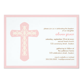 Sweet Pink Cross Baptism Christening Invitation