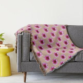 Sweet Pink Dahlia Garden Flowers on Custom Color Throw Blanket