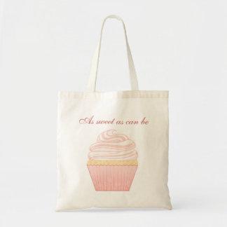 Sweet Pink Elegant Cupcake Budget Tote Bag