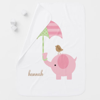 Sweet Pink Elephant Baby Blanket