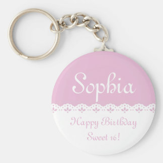 Sweet Pink Eyelet Lace Trim Personalized Basic Round Button Key Ring