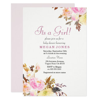 Sweet Pink Floral Its a Girl Baby Shower Invite