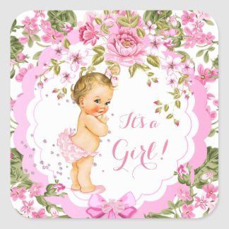 Sweet Pink Floral Rose Baby Shower Girl Blonde Square Sticker