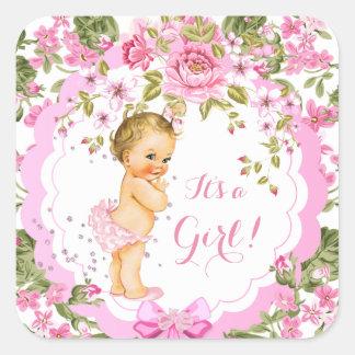 Sweet Pink Floral Rose Baby Shower Girl Blonde Square Sticker