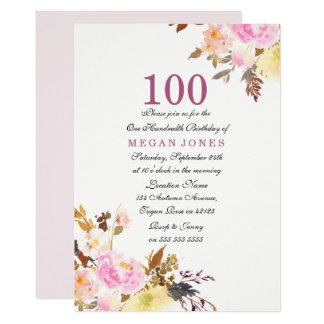 Sweet Pink Floral Script 100th Birthday Invitation