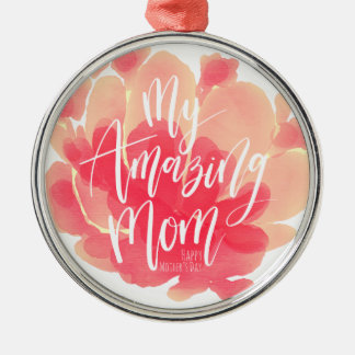 Sweet pink floral watercolor My amazing mom Christmas Ornament