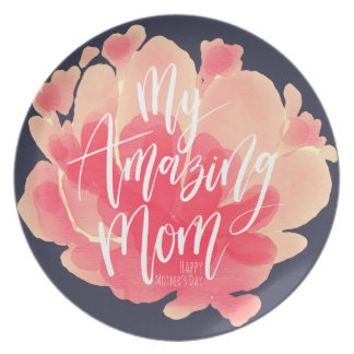 Sweet pink floral watercolor My amazing mom Plate