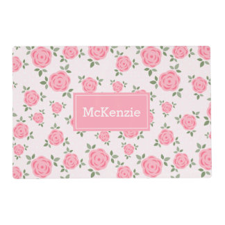 Sweet Pink Flowers Pattern Personalized Laminated Place Mat