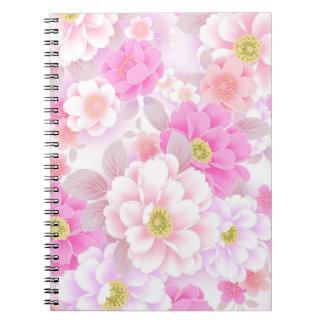 Sweet Pink Flowers Spiral Notebook