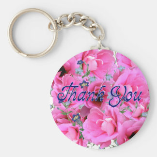 Sweet Pink Flowers Thank You Key Chain
