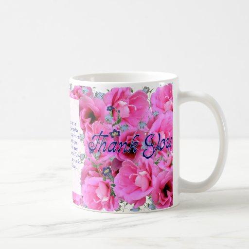 Sweet Pink Flowers Thank You Mug