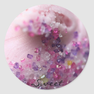 "'Sweet"" Pink frosted cupcake with pink sugar Classic Round Sticker"
