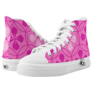 Sweet pink glam diamond geometric floral pattern printed shoes