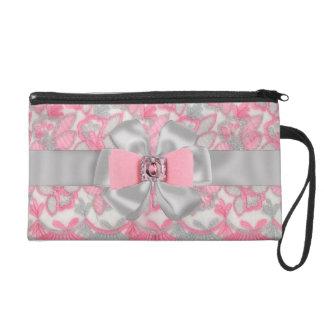 SWEET Pink & Gray Rhinestones & Bow wrislet case Wristlet Clutch