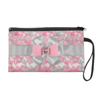 SWEET Pink & Gray Rhinestones & Bow wrislet case Wristlet Purse