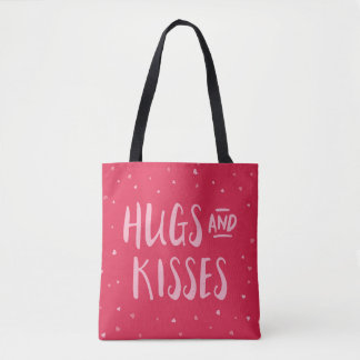Sweet Pink Hearts Hug and Kisses Tote Bag