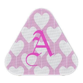 Sweet Pink Hearts Monogram Pieladium Speaker