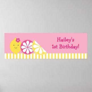 Sweet Pink Lemonade Birthday Banner Sign