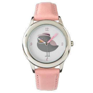 Sweet Pink Old Fashion Bird Charming Lady Girly Wristwatch