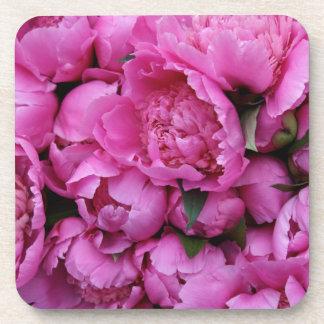 Sweet Pink Peonies Floral Flower Pattern Coaster