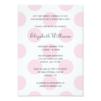 Sweet Pink Polka Dots Baby Girl Shower Invitation