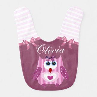 Sweet Pink Purplish Owl Personalized Baby Bib